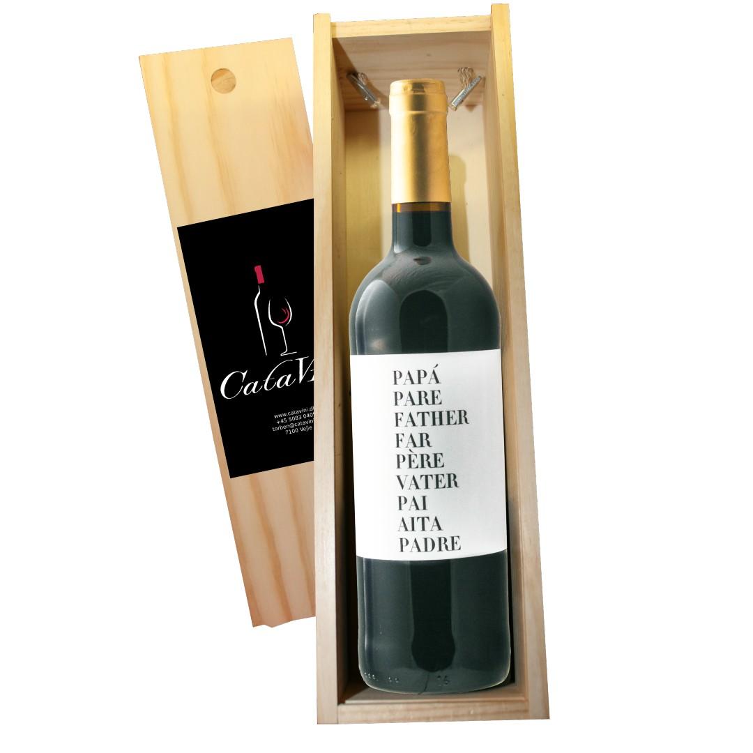Fars dags vin i gaveæske af træ